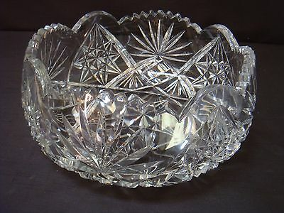Very Heavy Large Crystal Cut Glass Fruit Bowl Top Quality Over 2 Kilos In Weight