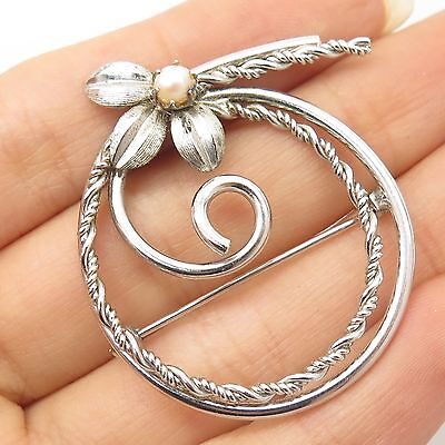 Signed Vtg 925 Sterling Silver Real Pearl Pin Brooch