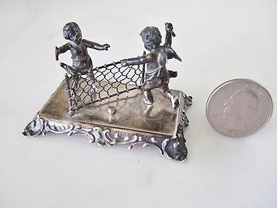 Antique 800 Silver Miniature Cherubs Playing Tennis –AS IS – Broken Rackets