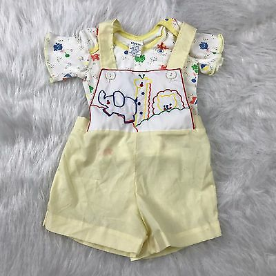 VTG Curity Newborn Short Overalls Shirt Yellow Embroidered Animals Two Piece