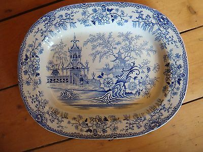 "Large Possible Swansea Pottery Colandine Pattern Platter Blue White 15.75"" A/f"