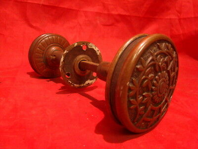 Antique Stunning Brass Victorian Front Entry Door Knob Set Inside & Out