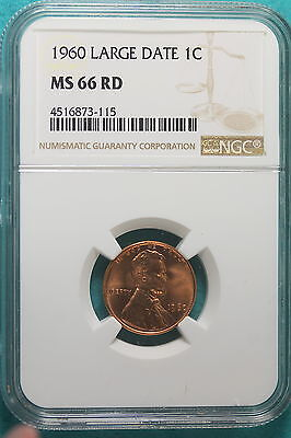 1960 NGC MS66 RED Large Date Lincoln Cent!! #A9200