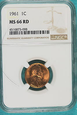 1961 NGC MS66 RED Lincoln Cent!! #A9214