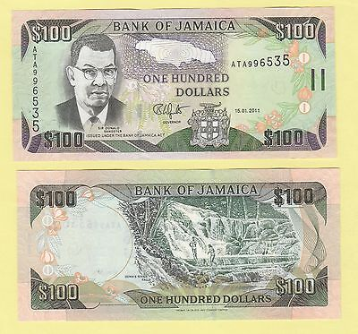 Jamaica P84f, $100, Sir Sangster, map / Dunn's River falls, 2011 UNC UV image