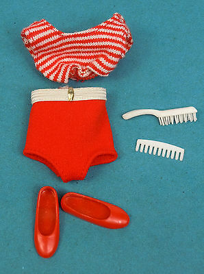 Vintage Skooter Swimsuit Red Shoes White Comb Brush for Straight Leg Doll 1960s