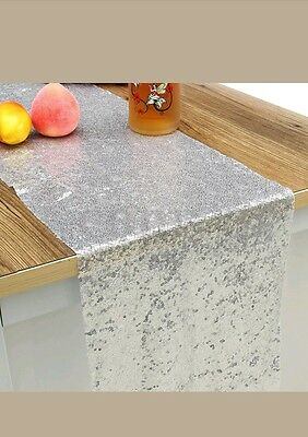 X2 Silver Glitter Sequin Table Runner Sparkly Wedding Party Decor Bling