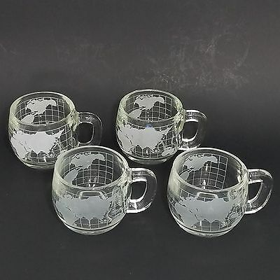 Vintage Nestle Clear Glass Coffee Cup Mug Frosted Etched World Map Coffee Set 4