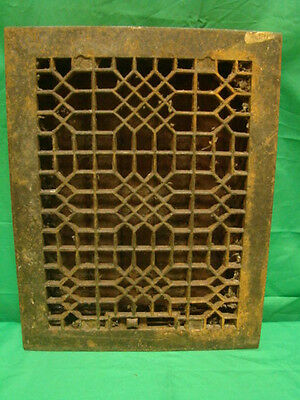 Antique Late 1800's Cast Iron Heating Grate Unique Ornate Design 13.75 X 10.75 I