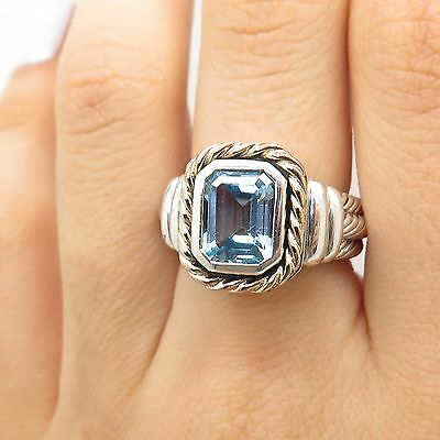 925 Sterling Silver With 14k Gold Real Blue Topaz Gemstone Ring Size 6