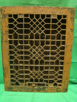 Antique Late 1800's Cast Iron Heating Grate Unique Ornate Design 13.75 X 10.75 J