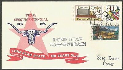 Us Event Cover 1986 Texas Sesquicentennial Lone Star State Lone Star Wagontrain