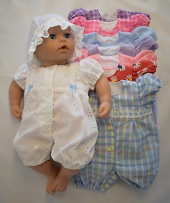 Dolls Romper suit / All in one & hat/headband. Fit 18in/46cm Baby doll/ Annabell