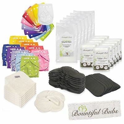 Deluxe Baby Nappy Pack. + 6 Layer Boosters, Breast Pads, Burp Cloths, Liners & W