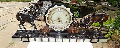 French Art Deco Marble Mantle Clock W/bronze Mounted Figural Antlered Elks Stags