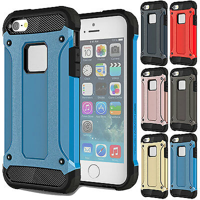 Armor Shockproof Rugged Hybrid PVC Rubber Hard Case Cover  For iPhone 5 5s -Blue