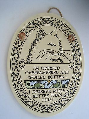 Trinity Pottery Wisconsin Cat Plaque Overfed Spoiled Rotton