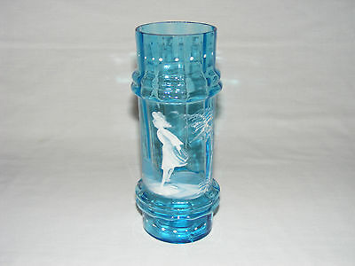 Antique Victorian Turquoise Blue Optic Art Glass Mary Gregory Glass Vase  C 1880