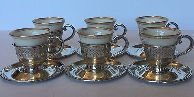 Sterling Silver Demitasse Cup Holders with Saucers and Lenox Liners