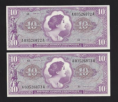 2 Consecutive $10 Series 651 Military Payment Certificate - Unc.