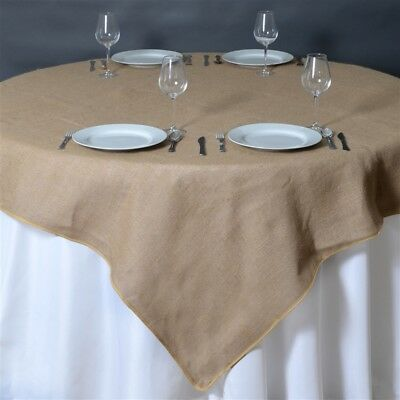 "60x60"" Natural Brown BURLAP SQUARE TABLE OVERLAY Wedding Party Tradeshow Linens"