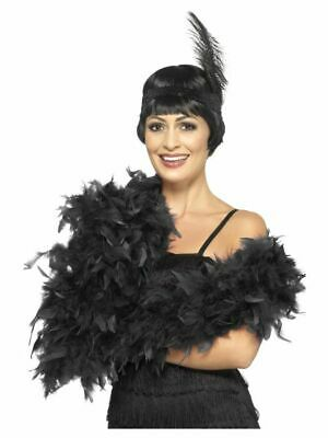 Black Feather Boa deluxe 2m 80g Gatsby burlesque costume accessory 20s 1920s