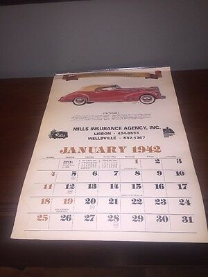 Used 1998 Automemories of 1942 Calendar Advertising Insurance Automobiles