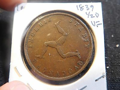 Great Britain Isle of Man 1839 1/2 Penny VF