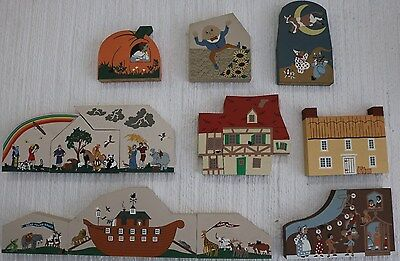 Lot of 12 CATS MEOW Town Village Wooden Display Pieces, Children's Stories Theme