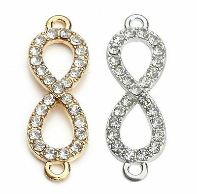 10/100pcs/lot Crystal Figure 8 Infinity Connector Charms Pendant Jewelry Making