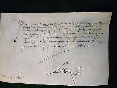 1591 manuscript document on vellum from France.