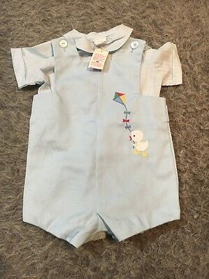 VTG Boys Infant Outfit Size 6-9 Months NWT NOS Deadstock Duck 2 Piece Blue