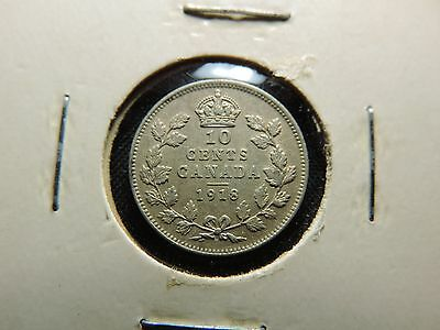 1918 10 Cent Coin Canada King George V Ten Cents .925 Silver Vf Condition