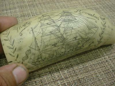 Faux Resin 1832 Scrimshaw Whale's Tooth carved Sailing Ship Romulus Rose D105a