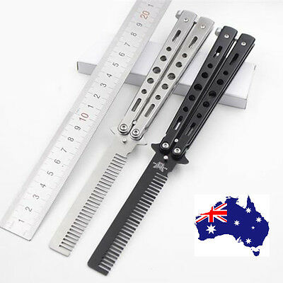 Practice Butterfly Balisong Trainer Comb Knife Dull Blade Folding Black AU Stock