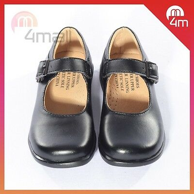 Girls Kids Black Formal School Leather Work Shoes Footwear Sz T-Bar Mary Jane