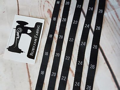 100 pack 18 20 22 24 26 size clothing labels BLACK sew in woven tags FREEPOSTAU