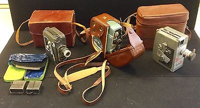 Antique 8mm Movie Camera Lot with Leather Case