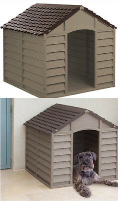 Brown Dog Kennel House Plastic Durable Outdoor Dogs Home Shelter Easy to Clean