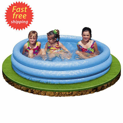 Inflatable Paddling Pool Three Ring Swimming Outdoor Garden Kids 1.14m x 25cm