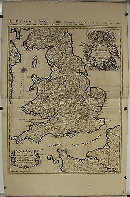 England & Wales 1693 Sanson & Jaillot Large Unusual Antique Copper Engraved Map