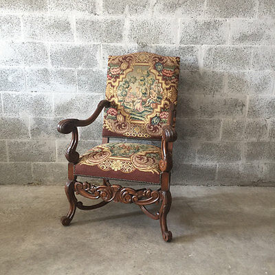 Antique French Arm Chair In Louis Xiv With Petit Point Tapestry - 19Th Century