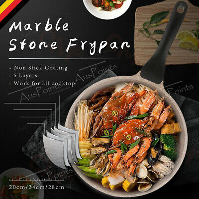 Marble Stone Coated Ceramic Frying Pan Induction Non Stick Cookware omelette