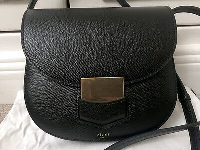 Authentic Celine Small Trotteur Bag in Grained Calfskin Leather
