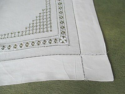 Antique Tablecloth - Drawn Thread Work - Irish Linen