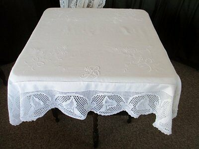 Antique Tablecloth-Irish Linen-Hand Crochet Edge-Lilys