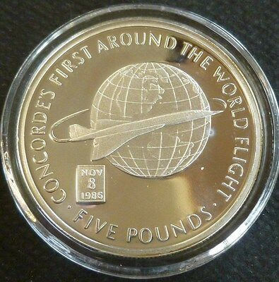 Concorde's Round The World Filght Sterling Silver Proof £5 2006 Gibraltar + COA