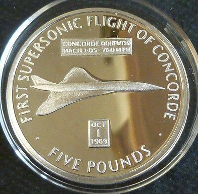 Concorde First Supersonic Flight Sterling Silver Proof £5 2006 Gibraltar + COA