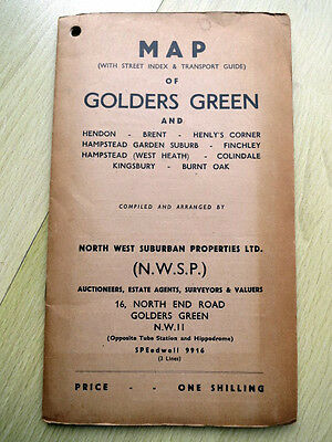 1940s foldout map of Golders Green & Hendon (N London), complete and good cond.