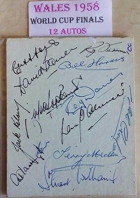 1958 Wales World Cup Players Signed Album Page - 12 Genuine Autographs - Rare